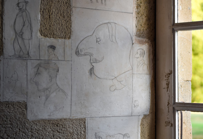 Detail of drawings from a wall in the Chateau du Bosc - France