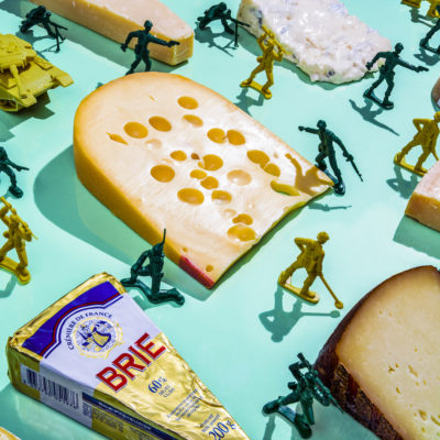 Kim Jong-Un/Emmental and French Cheese — In the 2014 North Korea confirmed that its young dictator, Kim Jong-Un 'suffered discomfort' after addiction to Swiss cheese. The North Korean leader got a taste for Swiss cheese while was a student in Switzerland and understood to love it so much (along with French cheese) that he imports vast quantities, despite Western sanctions.